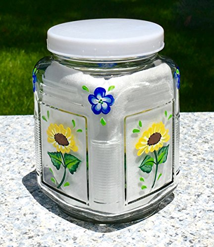 Glass Canister With Lid and Hand Painted Yellow Flowers