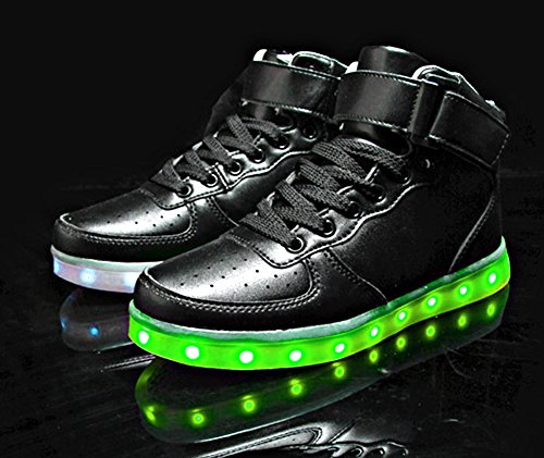 MOHEM ShinyNight High Top LED Shoes Light Up USB Charging Flashing Sneakers(1687003Blue30)