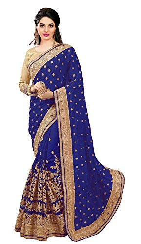 Nivah Fashion Women's Dhupion Silk & Net Half N Half Real Diamond With Embroidery Dori Work Saree (Blue Silk Sari Saree)
