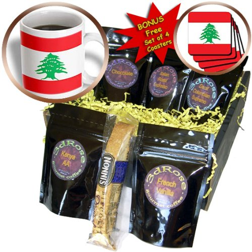 InspirationzStore Flags - Flag of Lebanon - Lebanese red and white stripes with green cedar tree - Arabic country Arab world - Coffee Gift Baskets - Coffee Gift Basket (cgb_158355_1)
