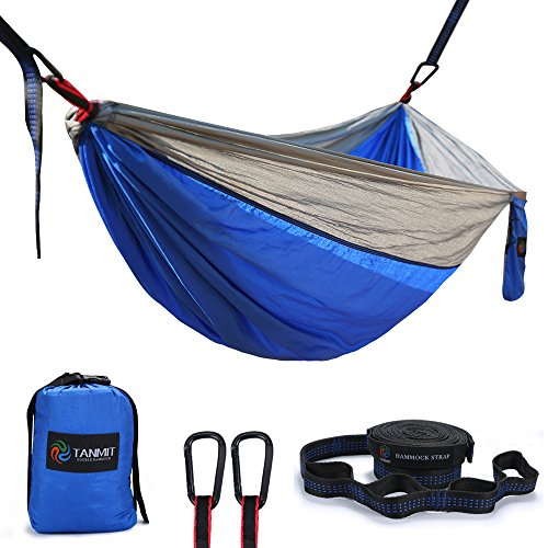 Camping Hammock, Lightweight Portable Garden Double Hammocks - Premium Nylon Parachute Hammock with Tree Straps for Backpacking Travel Beach Yard