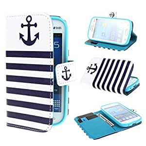 Leathlux Anchor Design Wallet PU Leather Stand Flip Case Cover for Samsung Galaxy Fresh S7390 / Samsung Galaxy Fresh Duos S7392