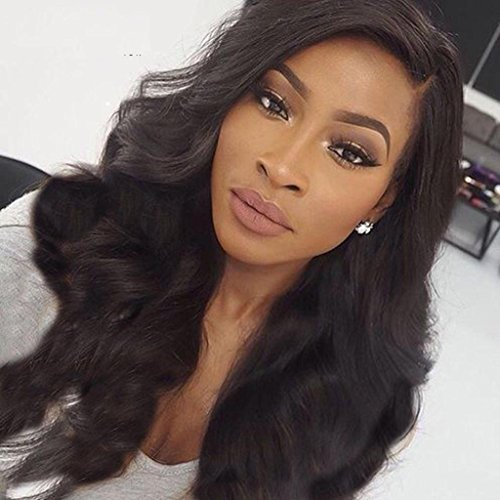 Human Hair Wigs for Women Brazilian Virgin Human Hair Lace Front Wigs with Baby Hair Loose Curly Wigs Glueless Lace Front Wig Body Wave Natural Black Color Wigs 12 inch by Prime Kitty