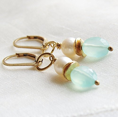Chalcedony Earrings 14kt Gold Filled Lever Back Cultured Freshwater Pearl - Mint Green Freshwater Pearl
