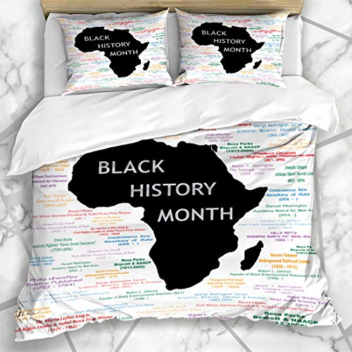 Ahawoso Duvet Cover Sets Queen/Full 90x90 Leader American Black History Month Television African King Luther Martin Mandela Barack Microfiber Bedding with 2 Pillow Shams