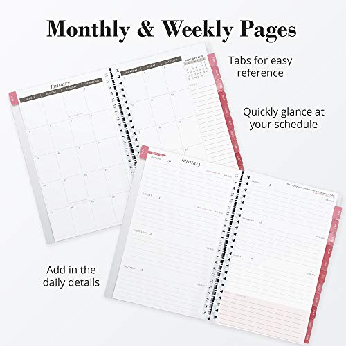 2019 Monthly Weekly Planner Calendar Appointment Book, 5.5 x 8 inches, Premium Paper, Chic Fashionable Elegant (AJWP-201) Photo #5