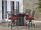 fire pit dining table Hanover TRAD5PCFPRD-BR-R Traditions 5-Piece High-Dining Set in Red Outdoor Furniture