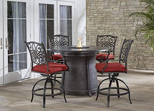 Hanover TRAD5PCFPRD-BR-R Traditions 5-Piece High-Dining Set in Red Outdoor Furniture