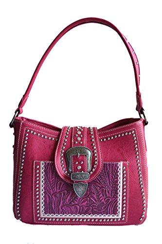(ladies western hot pink belt buckle studs tooled hobo purse )