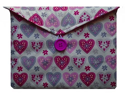Purple and Pink Hearts Print Kindle Fire 7'' Bag for Amazon Kindle HD8 Tablet by miss pretty london