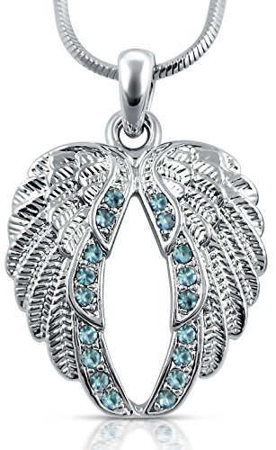 Guardian Angel Wings Pendant Necklace Jewelry Gifts Girls, Teens and Women, Sympathy, Remembrance, Memorial Condolence Gifts, Mothers Day, Easter Religious Jewelry Gifts, Biker Jewelry (Sky Blue)