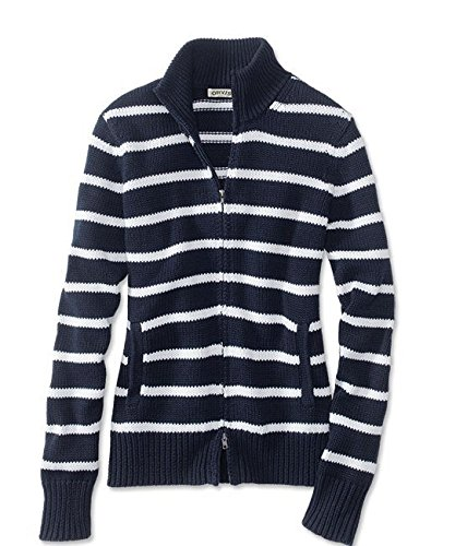 Orvis Women's Zip-Front Cotton-Knit Cardigan, Navy Stripe, Large
