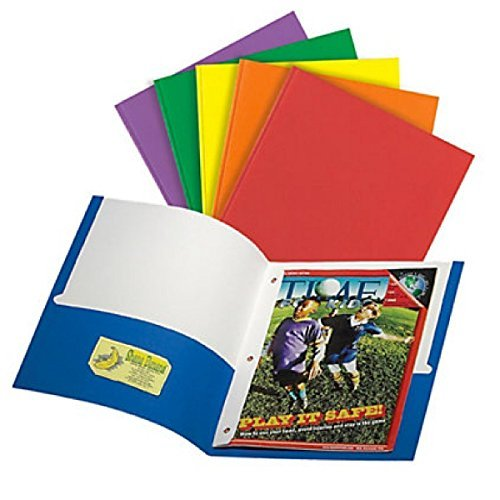 Office Depot Folders for School Set of 6 Two Pocket with 3-Prong Fastener Assorted Colors S-61
