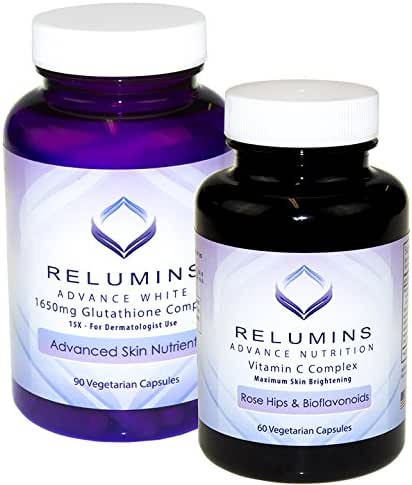 Relumins Advanced White Dermatologic Set - 1650mg Glutathione Complex and Advanced Vitamin C with Rose Hips and Bioflavanoids (1 Month Supply) - Cutting Edge Formula, Unbelievable Results!