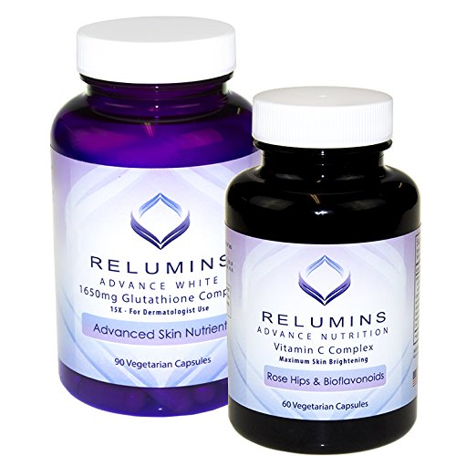 Relumins Advanced White Dermatologic Set - 1650mg Glutathione Complex and Advanced Vitamin C with Rose Hips and Bioflavanoids (1 Month Supply) - Cutting Edge Formula, Unbelievable Results! by Relumins