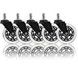 URBEST 5Pcs Black Universal Heavy Duty Office Desk Chair Caster Wheels Replacement Safe on Carpet, Hardwood Floors for Barber and Salon Shops (Black)
