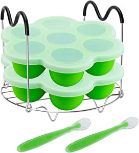 Pressure Cooker Accessories with Silicone Egg Bites Molds and Steamer Rack Trivet with Heat Resistant Handles Compatible with Instant Pot Accessories 6 Qt 8 Quart, 3 Pcs with 2 Bonus Spoons (Green)