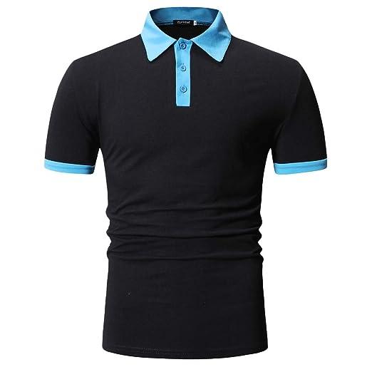 MOSERIAN Mens T-Shirt Summer Casual Button Patchwork Short Sleeved T-Shirt Top Blouse