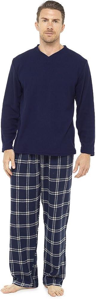 Mens Thermal Fleece Top /& Flannel Bottoms Pyjama Lounge Wear