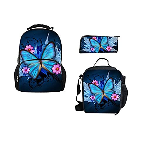 Bigcardesigns 3D Bule Butterfly School Bag Backpack With Lunch bag Pencil Case (Backpack With Butterflies)