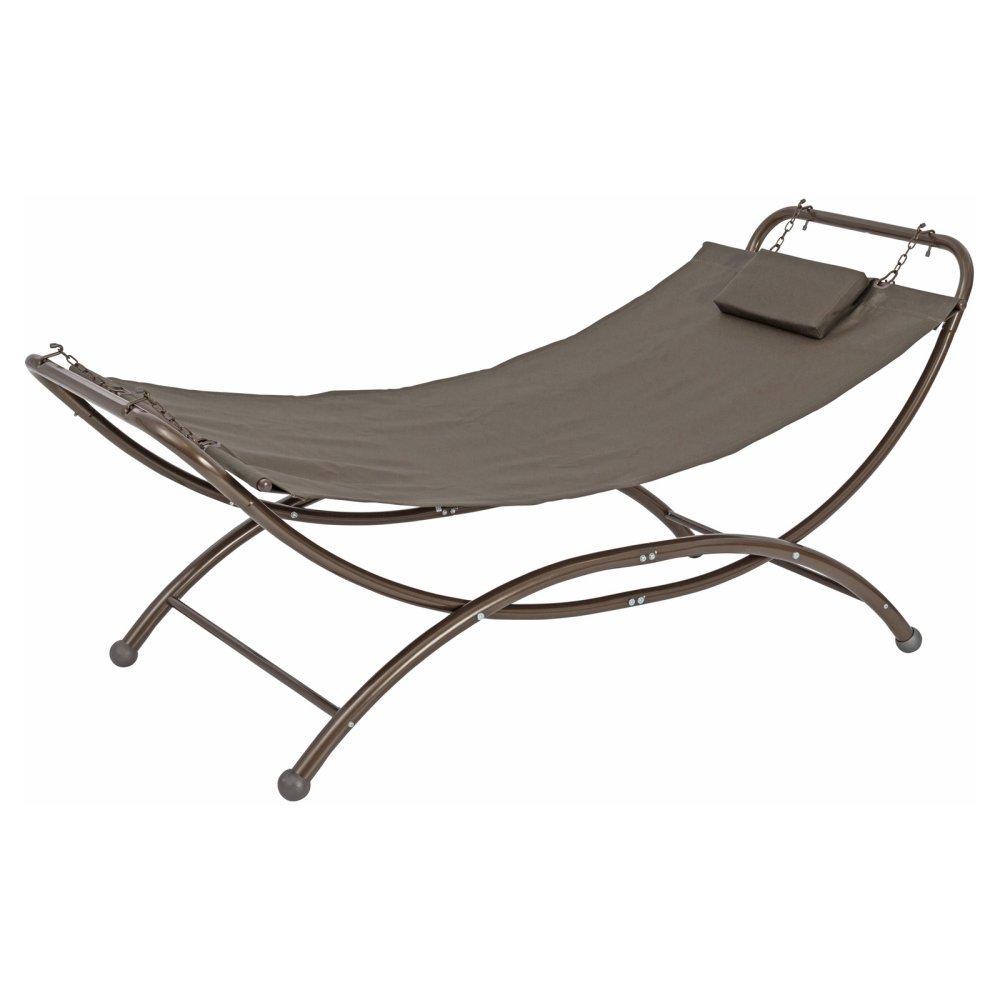 Poolside Hammock - TrueShade Plus Portable Freestanding Patio Backyard Swinging Hammock - One Person Hammock (7' x 3.5' ) Brown Grey