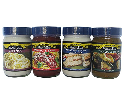 - Walden Farms Calorie Free, Carb Free, Pasta Sauces-Alfredo/Tomato and Basil/Garlic and Herb/ Mayo