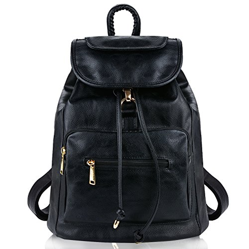 (Leather Backpack, COOFIT Black PU Leather Backpack Schoolbag Casual Daypack for)