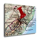Ashley Canvas, Map With Pin Point Of Durban In South Africa, Home Decoration Office, Ready to Hang, 20x25, AG6087628
