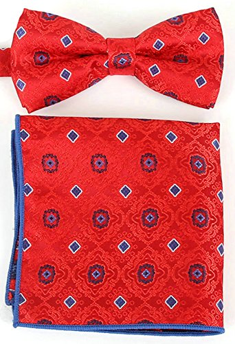 (Flairs New York Paisley Collection Bow Tie & Pocket Square Matching Set (Crimson Red/Sapphire Blue))