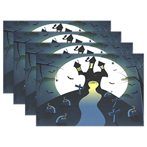 OPRINT Halloween Castle Grave Full Moon Place Mat Table Mat Vintage Art Polyester Table Place Mat for Kitchen Dining Room 12 x 18 inch -
