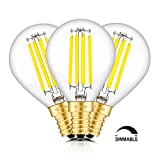 TAMAYKIM 4W Dimmable Edison style antique LED Filament Globe Light Bulb, 5000K Daylight (bright White) 450LM, E14 Candelabra Base Lamp, G45 globular Shape, 45W Incandescent equivalent, 3 Pack