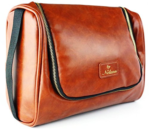 By Nelson Toiletry Bag - Our Best Leather Dopp Kit That's A Perfect Travel Storage Solution For Men and Women - Store All Bathroom Accessories & Made of Genuine Full Grain (Solutions Antibacterial Face)