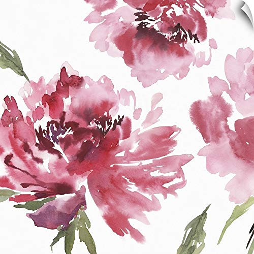 (CANVAS ON DEMAND Crimson Blossoms II Wall Peel Art Print, 12