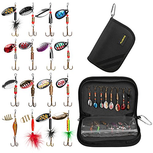 (PLUSINNO 16pcs Fishing Lure Spinnerbait Kit with Portable Carry Bag,Bass Trout Salmon Hard Metal Spinner Baits Kit)