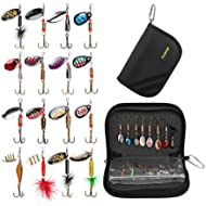 PLUSINNO Fishing Lures for Bass 16pcs Spinner Lures with Portable Carry Bag,Bass Lures Trout...