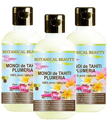 MONOI de TAHITI PLUMERIA OIL 100 % Natural / 100% PURE BOTANICALS. 2 Fl.oz.- 60 ml. For Skin, Hair and Nail Care.