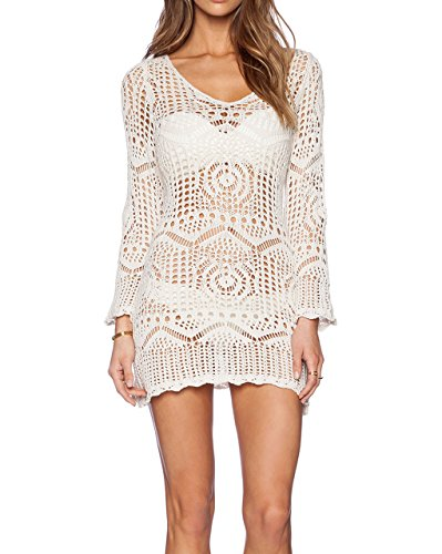 Bestyou Women's Crochet Knit Top Shirt Swimsuit Cover up, White, One Size