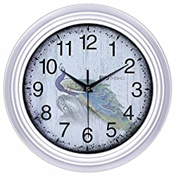 45Min 12-Inch Fern/Phoenix/Peacock/Peony(Peacock) Decorated Dial Face Retro Wall Clock, Silent Non-Ticking Round Home Decor Wall Clock with Arabic Numerals