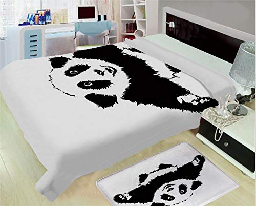 (Super Light and Warm Flannel Household Printing Blanket,Panda,Funny Panda Wants to Hug and Cuddle Adorable Friendly Cartoon Illustration Print,Black White,One Side Printing,Excess Value)