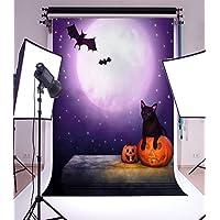 Laeacco 5x7ft Top Design Vinyl Thin Photography Horror Moonlight Halloween Grimace Pumpkin Lantern Bats Wildcat Backgrounds Photo Backdrop,1.5x2.2m Studio Props