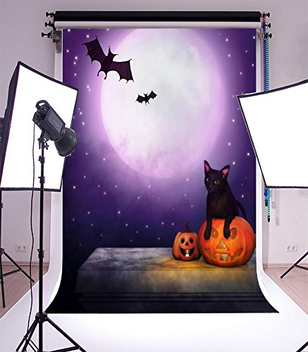 (Laeacco 5x7ft Top Design Vinyl Thin Photography Horror Moonlight Halloween Grimace Pumpkin Lantern Bats Wildcat Backgrounds Photo Backdrop,1.5x2.2m Studio)
