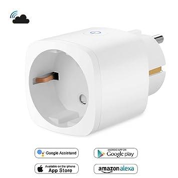 Enchufe Inteligente Inalambrico WiFi Control Remoto 16A Compatible con Alexa Google Home Asistente, BricoPlus Mediante App Controlar Consumo La Luz de ...