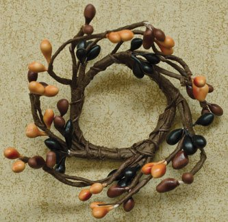 Primitive Mix Pip Berry Ring Candle Accent Black Rusty Brown Orange Pips Country Primitive Decor ()