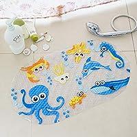 Muitech tapete alfombrilla de baño cuadrado con orillas redondas antideslizante para tina, cuarto de baño, piso, ducha para bebés y niños, unisex, cool (Pulpo Azul)