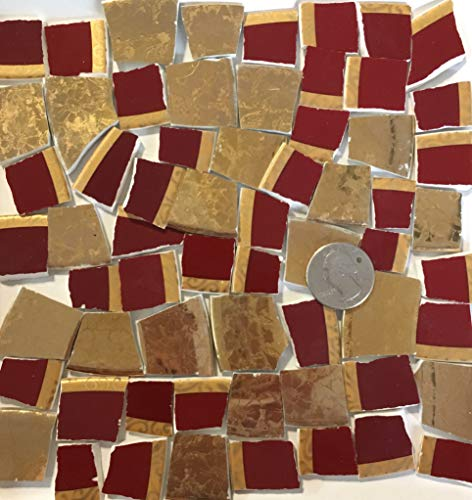 (Mosaic Art & Crafts Supply ~ Rich Red & Gold China Rim Tiles (B379))