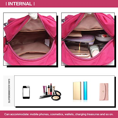 Handbag Crossbody Nylon Plum Shoulder Kono and Compact Saddle Messenger Fashionable bag Functional bag 5q8dx8FTw