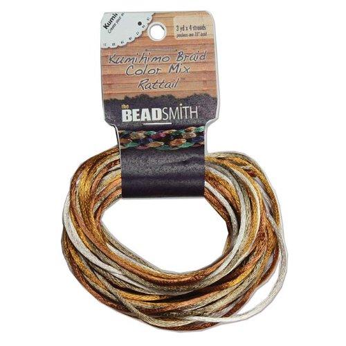 Beadsmith Satin Rattail Braiding Cord 2mm Warm Neutrals Mix 4 Colors - 3 Yds Each RTMIX611-R