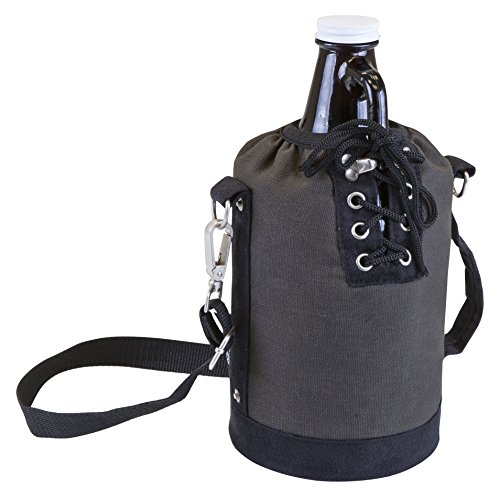LEGACY - a Picnic Time Brand 610-85-105-000-0 Amber Glass with Canvas Lace up Growler Tote, Gray