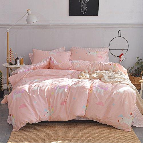 OTOB Cotton Cartoon Unicorn Queen/Full Duvet Cover Bed Set Girls, Kids Teen Bedding Sets Full Size 3 Piece for Toddler Women, Reversible Striped (1 New Comforter Cover 2 Pillowcase) Cloud Print, Pink