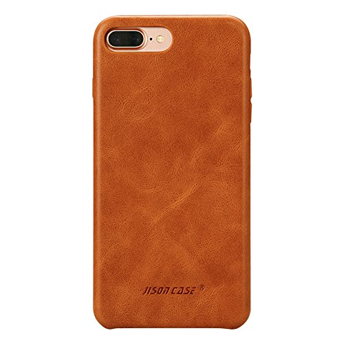 JISONCASE Compatible iPhone 8 Plus Leather Case iPhone 7 Plus Case Slim Back Cover Snap Grip Case for Apple iPhone 7 Plus / 8 Plus 5.5 inches, Brown (TC-I8L-04A20)